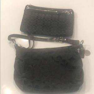 Coach purse and coach makeup bag